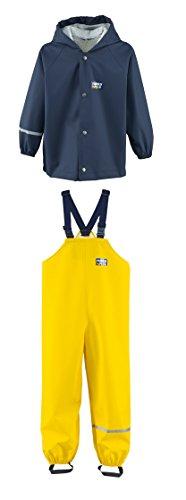 Rukka wasserdichte Regenbekleidung für Kinder Set Blau Regenjacke und Gelbe Latzhose 110 cm / 5 Jahre