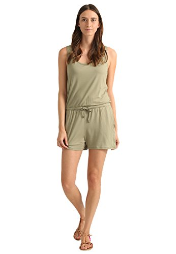 Jumpsuit für Damen Kurz in Hell-Grün einfarbig mit Ärmel von - THE STYLE ROOM - Sommer Overall elegant, knielanger Romper mit Bund, Größe XL
