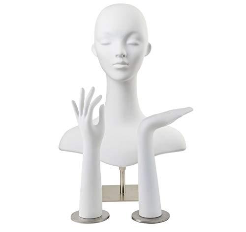 GXju-Decorative items Gliederpuppen Kopf-Form-Handmodell 1 Satz Männer und Frauen-Hut-Stirnband Gläser Halskette Schmucksache-Schal Auslage Props anzeigen Weiß Ständer (Size : 32/42/50-63CM)