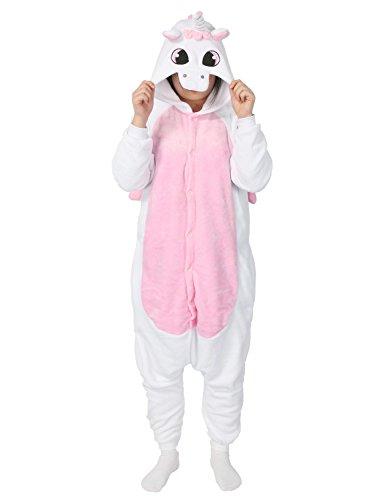 Einhorn Schlafanzug für Erwachsene Unisex (L, Pink Einhorn)