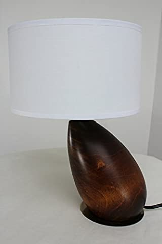 § § Contemporary Table Lamp # X153; Egg. Foot Shaped Solid Wood & Walnut Finish on an old brass disc Fabric Drum