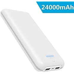 Power Bank 24000mAh Ricarica Rapida Caricabatterie Portatile con Due Porte USB di 4.2A e Ingresso di 2A Batteria Esterna Alta Capacità per iPhone XS Max/XR/8/7/6s iPad Samsung HUAWEI Nintendo Switch