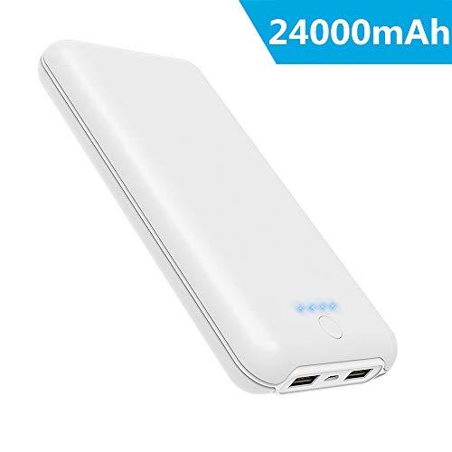 Power bank 24000mah ricarica rapida caricabatterie portatile con 2 output usb di 2.1a e ingresso di 2a batteria esterna alta capacità per iphone xs max/xr/8/7/6s ipad samsung huawei nintendo switch