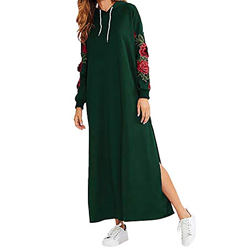 Xinantime Robe Femme, Femme Casual Manches Longues Floral Pull à Capuche Brodé Robe Maxi Dress Automne