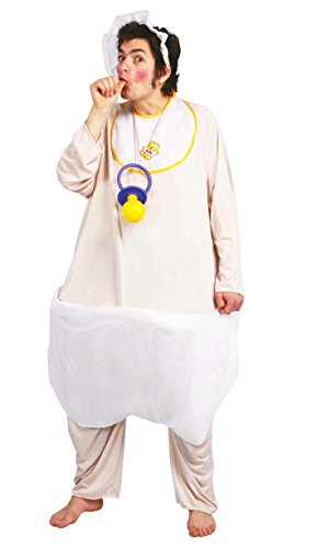Baby Kostüm Babykostüm Riesenbaby Riese Erwachsene Windel Herrenkostüm Herren, Größe:Einheitsgröße, Farbe:Beige/Weiß (Riesen Baby Kostüme)