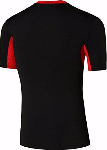 jeansian Uomo Attillati Felpa Formazione Fitness la Maglietta Muscle Training Workout T-shirt Tight Sportswear SMF018 BlackRed
