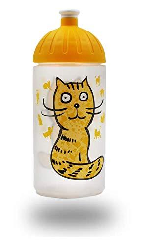 ISYbe Original Marken-Trink-Flasche für Klein-Kinder, 500 ml, BPA-frei, Katze-Motiv für Mädchen & Jungen, für Schule-Reisen-Kita-Kiga-Outdoor, Auslaufsicher auch mit Sprudel, Spülmaschine-fest