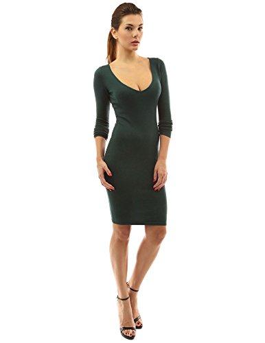 PattyBoutik Damen V-Ausschnitt Stretch Strickkleid mit langen Ärmeln (dunkelgrün 46/XL)