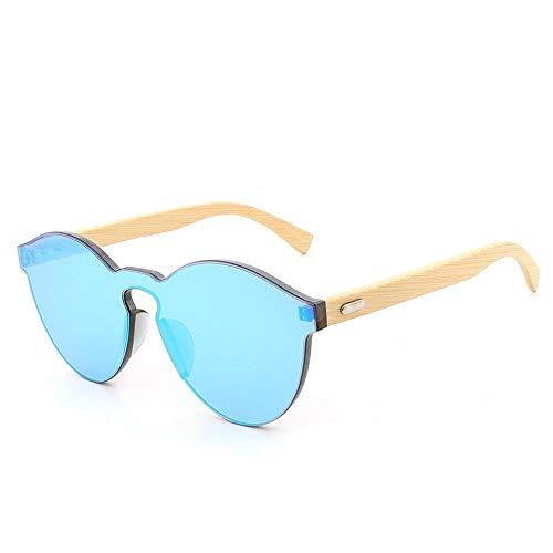 Big Box vielseitige rahmenlose Persönlichkeit Sonnenbrille Mode Bambus Füße Brille Brille (Color : Blau, Size : Kostenlos)