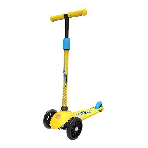 Kinder Roller Kind Dreirad Kind Yo-yo Flash Rad Roller Abnehmbare Roller Kind Roller, Schwerkraft Lenkung, Mikro Elastische Panel (Color : Yellow, Size : 54 * 24 * 71cm) -