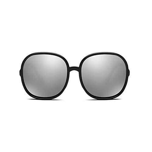 Thirteen Polarisierte Sonnenbrille Große Damenbrille Mit Rahmen Zum Fahren Bunte Polarisierte Spiegel, UV-Schutz DREI Farben Optional Für Mehrere Gesichter (Color : Silver)