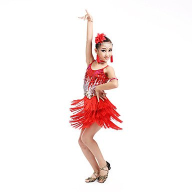 kekafu Wir Latin Dance Kleider Kinder Leistung Elasthan Fashion Pailletten/Quaste (s) Dance Kostüme mit Ohrringe, Rot, 150