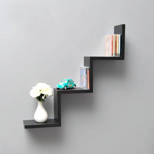 ts-ideen Étagère murale Lounge Zigzag Design Rétro CD DVD Noir