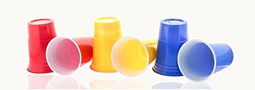 50 x gobelet (Rouge, Bleu, Jaune) Gobelets Jetables, Gobelets en plastique jetables Rouge, 200 ml, Très stable, Bière, boissons froides Cocktails Smoothies Fêtes Soirées