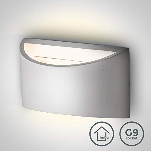 Lámpara de pared de yeso LED 20x8,5x11,5 cm, 3,8W G9 230V, Color Blanco, Apliques de decoración moderna...