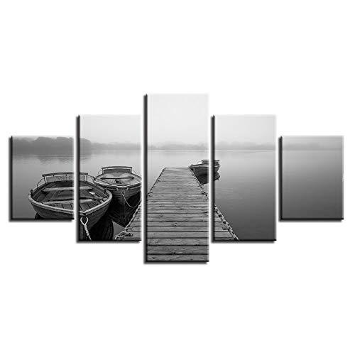 er Wandkunst Dekor 5 Stücke Brücke und Schiff psychedelische Landschaft Leinwand Gemälde modulare Bilder ()
