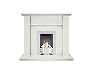 The Mini Trinity in Perola with Crystal Diamond Contemporary Gas Fire in Brushed Steel, 42 Inch