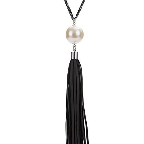 Contever® Mode Charms Weiß Perle Bead mit Leder Quasten Anhänger Lange Ketten Sweatshirt Halskette Schmuck (Schwarz Quasten)