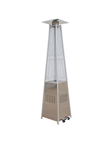Agoradirect - Estufa De Gas Exterior LED, 13 Colores, Acero Inoxidable, Diseño Pirámide, Potencia 13kw con Regulador, Altura 2,2m, para Jardines, Patios, Porches, Terrazas, Bares, Restaurantes
