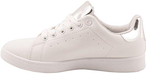 Elara Trendige Unisex Sneaker |Damen Kult Sport Laufschuhe | Turnschuhe Weiß/Silber Style