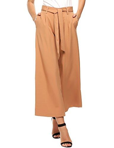 Wide Leg Hohe Taille Hose (Beyove Damen Sommerhose lang Weite Hose gestreifte Hose Palazzo mit Eingrifftaschen Schlabberhose)