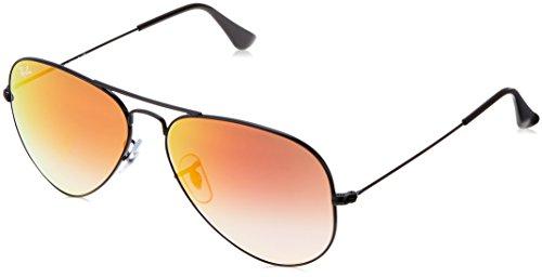 Ray Ban Unisex Sonnenbrille RB3025, Gr. Large (Herstellergröße: 58), Schwarz (Gestell: schwarz,  Gläser: gespiegelt rot verlauf)