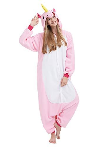 Fandecie Tier Kostüm Tierkostüm Tier Schlafanzug Einhorn Pyjamas Jumpsuit Kigurumi Damen Herren Erwachsene Cosplay für Tier Fasching Karneval Halloween (Rosa Einhorn, S:150-160CM)