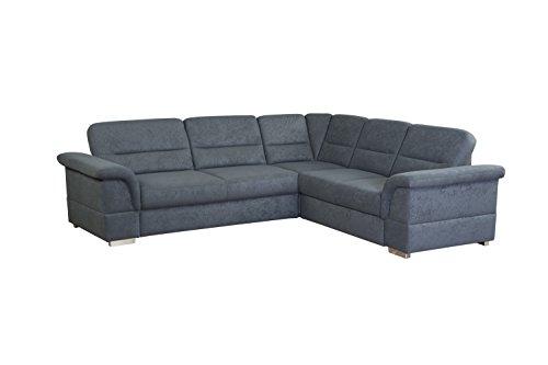 CAVADORE Eck-Sofa Tuluza mit Bett/Moderne Eck-Couch mit Schlaffunktion und Stauraum/Größe: 262 x 87 x 233 cm (BxHxT) / Dunkelgrau