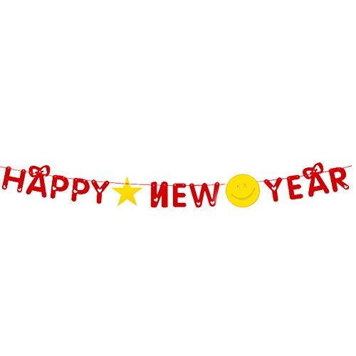 Emorias 1 PC Banner Bunting Flags Happy New Year Anhänger Tür und Wand hängende Dekoration Ornamente Home Party Dekor (3 Meter)
