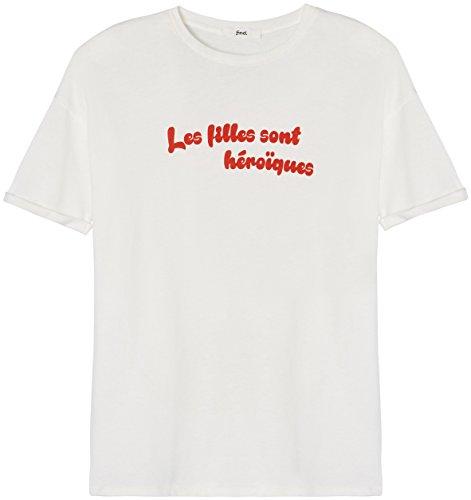 FIND T-Shirt à Message Femme à Manches Courtes, Blanc (White), 42 (Taille Fabricant: Large)