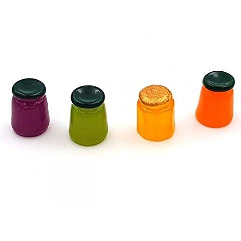 Creafirm - 10 pots de confiture miniatures multicolores en résine 14mm