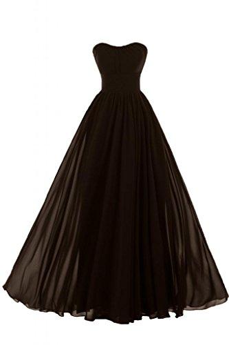 Sunvary Liebling Herzform Abendkleider Lang Chiffon Cocktailkleider Brautjungfernkleider Partykleider Schokolade