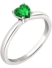 Silvernshine 7mm Heart Cut Emerald Solitaire Engagement Ring 4 Prong In 14K White Gold Plated