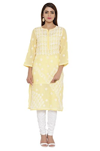 ADA Hand Embroidered Lucknow Chikan Womens Casual Cotton Kurta (A196359_Yellow)