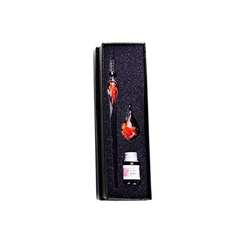 SEGRJ Glasstift, Kunstkristall, Unterschrift im Inneren der Blume, zum Schreiben von Kunst-Dekoration, Geschenk Einheitsgröße Orange