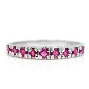 100% Genuine Nature Ruby 925 Sterling Silver Platinum Plating Ring Gem Fine Jewellery-SizeZ