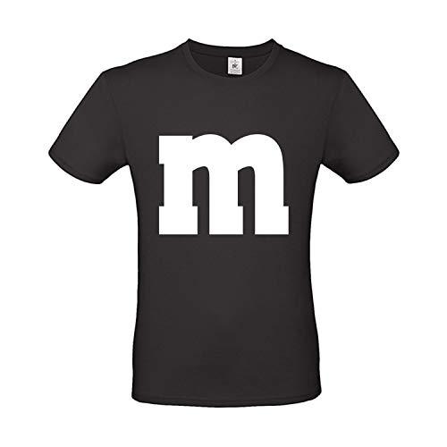 Kostüm Süßigkeit Gruppe - Shirt-Panda Herren T-Shirt M&M Karneval Gruppen Kostüm Fasching Verkleidung Party Darts Unisex Kinder Schwarz L
