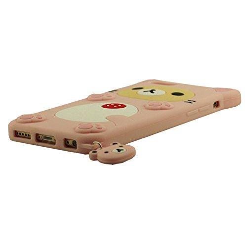 Apple Schutzhülle für iPhone 6S / 6 4.7 inch Hülle Pink, Tier Cartoon Stil Original Design Niedlich 3D Bär Slikon Gel Weich Case + Silikon Halter pink