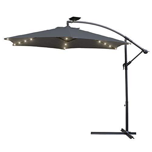 wolketon Grau Solarpanel 3.0m Sonnenschirm Garten Schirm Marktschirm Ampelschirm LED Solar Kurbel Schirm für Garten, Pool, Planschbecken, Terrasse, Camping-Platz, Loggia, Balkon