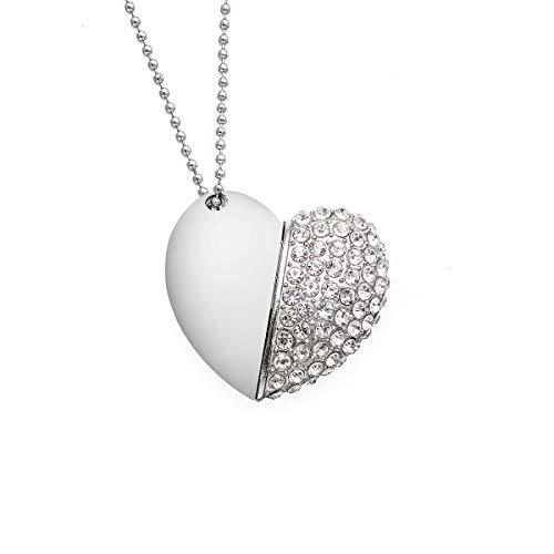 Chiavetta usb 32gb 3.0forma mignon di cuore argento argento cœur mignon