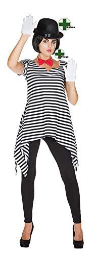 Karneval-Klamotten Pantomime Kostüm Damen Clown Harlekin Kostüm mit Melone und Fliege Ringel Tunika schwarz weiß Größe 50