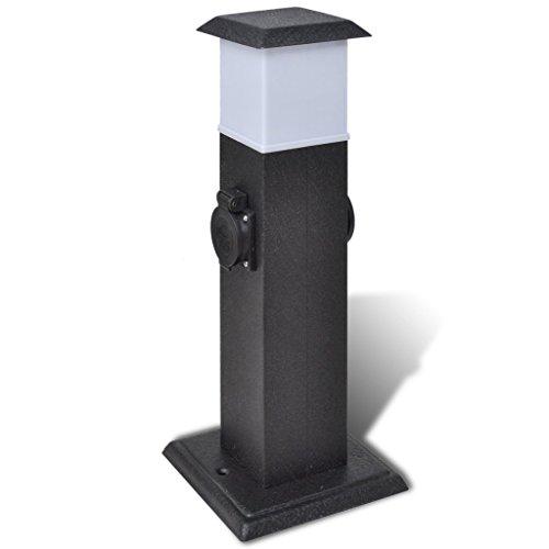 Festnight Gartensteckdose 2-Fach Steckdose Steckdosenturm mit Lampe Schwarz 15,5 x 15,5 x 40,5 cm