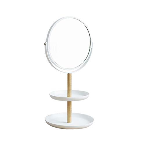 LALAWO Jingzi Desktop-Speicher Kosmetikspiegel Desktop-Schmuck Kleinigkeiten Ablage Vergrößerungsspiegel tragbarer Kosmetikspiegel Drehbarer doppelseitiger Spiegel normaler Seitenvergrößerungseffekt -