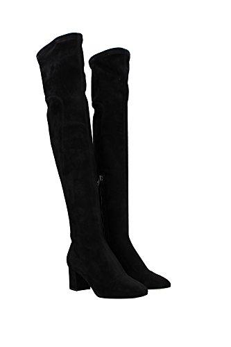 CU0302AC70080999 Dolce&Gabbana Bottes Montantes Femme Chamois Noir Noir