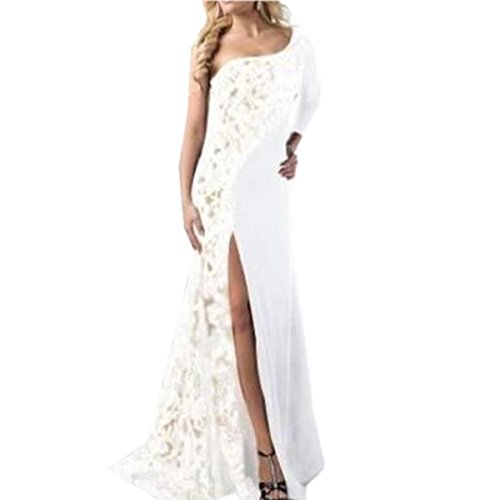SHUNLIU Damen Elegant Spitzen Abendkleid Brautjungfer Cocktailkleid Chiffon Rock Langes Abendkleid Weiß