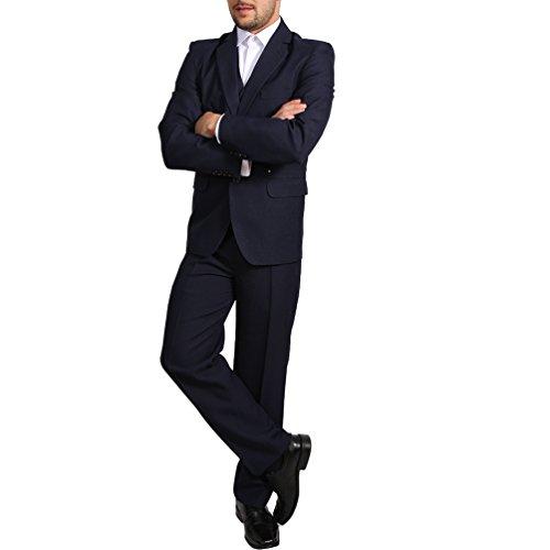 Candygirls Regular Herren Anzug 3Teiler Sakko Hose Weste Büro Business Hochzeit H10 (58, Dunkelblau)