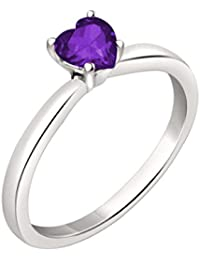Silvernshine 7mm Heart Cut Amethyst Solitaire Engagement Ring 4 Prong In 14K White Gold Plated