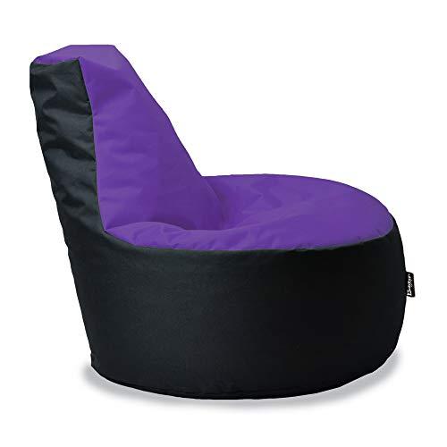 BuBiBag Gamer Sitzsack Sitzkissen Sitzmöbel Beanbag Sitz-Kissen für Kinder Junior (Lila-Schwarz)