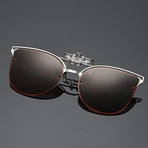 WDDYYBF Sonnenbrillen, Polarisierte Sonnenbrille Frauen Einrasten In Der Nähe Gesichtet Fahren Night Vision Linse Kurzsichtigkeit Brillen Clip Damen Flip-Up-Gläser Braun