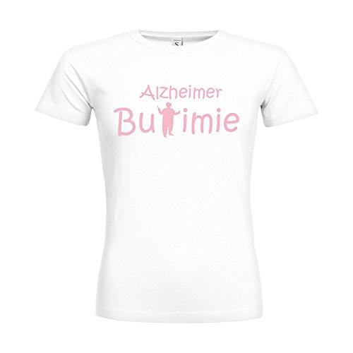 Xviii Kostüm Femme - MDMA Frauen T-Shirt Classic Alzheimer Bulimie N14-mdma-ftc00351-18 Textil white / Motiv babyrosa / Gr. XXL